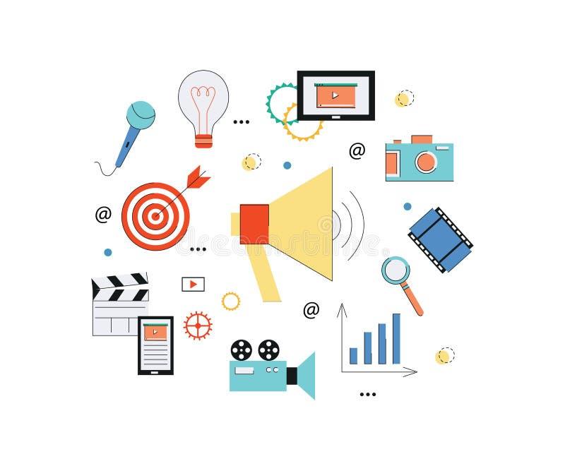 Videopn marknadsföra rengöringsdukbegrepp med högtalaren, kameran, minnestavlan och massmediabeståndsdelar royaltyfri illustrationer
