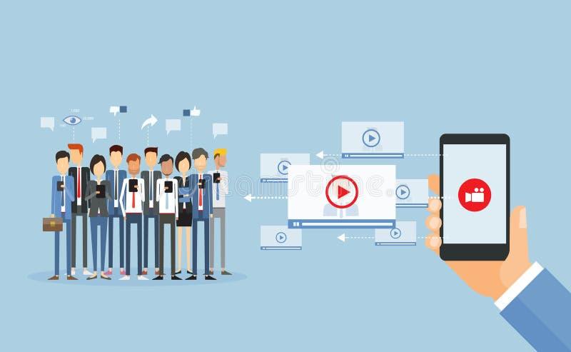 Videopn marknadsföringsinnehåll för affär direktanslutet och videopn videopn dela stock illustrationer