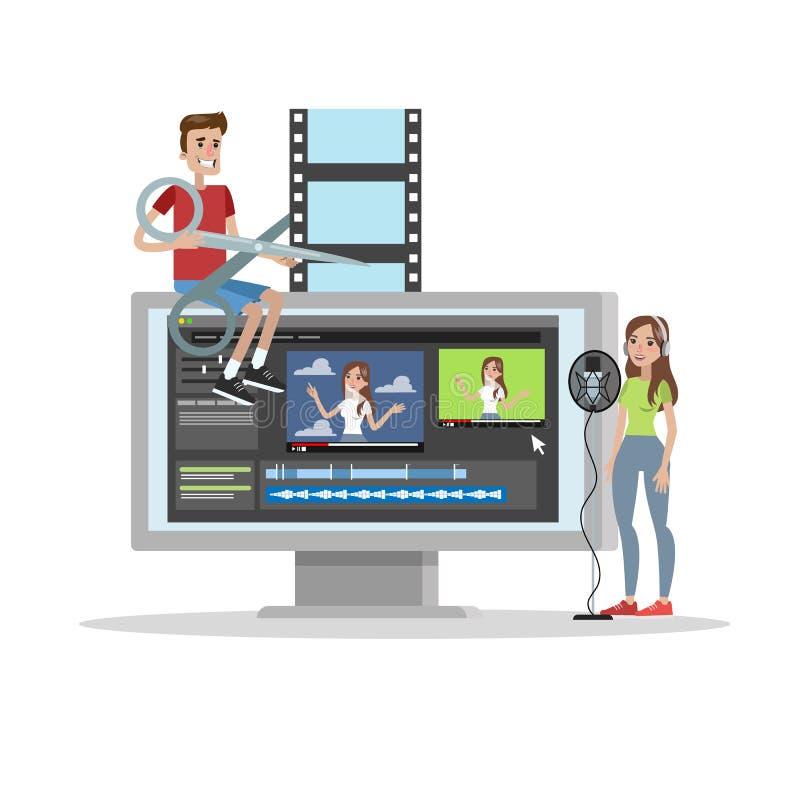 Videopn redigerande begrepp royaltyfri illustrationer