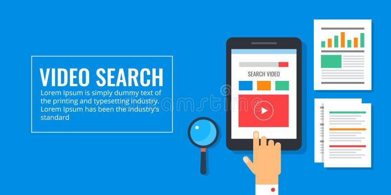 Videopn sökande - video optimization, digitalt marknadsföringsbegrepp Plan designmarknadsföringsillustration royaltyfri illustrationer
