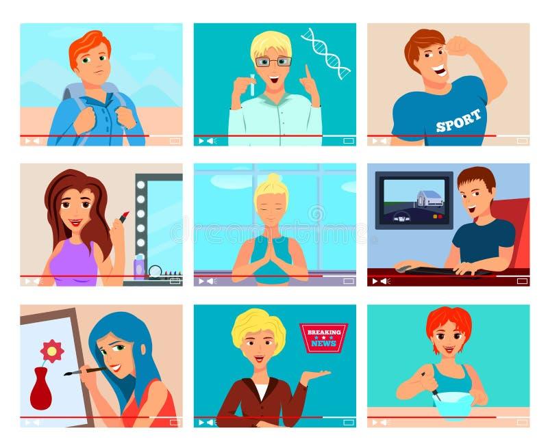 Videopp Bloggerstecken sänker uppsättningen royaltyfri illustrationer