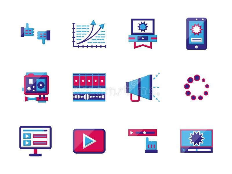 Videopp blogging plana färgsymboler royaltyfri illustrationer
