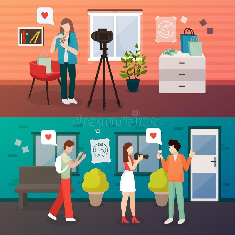 Videopp bloggskyttesammansättningar royaltyfri illustrationer