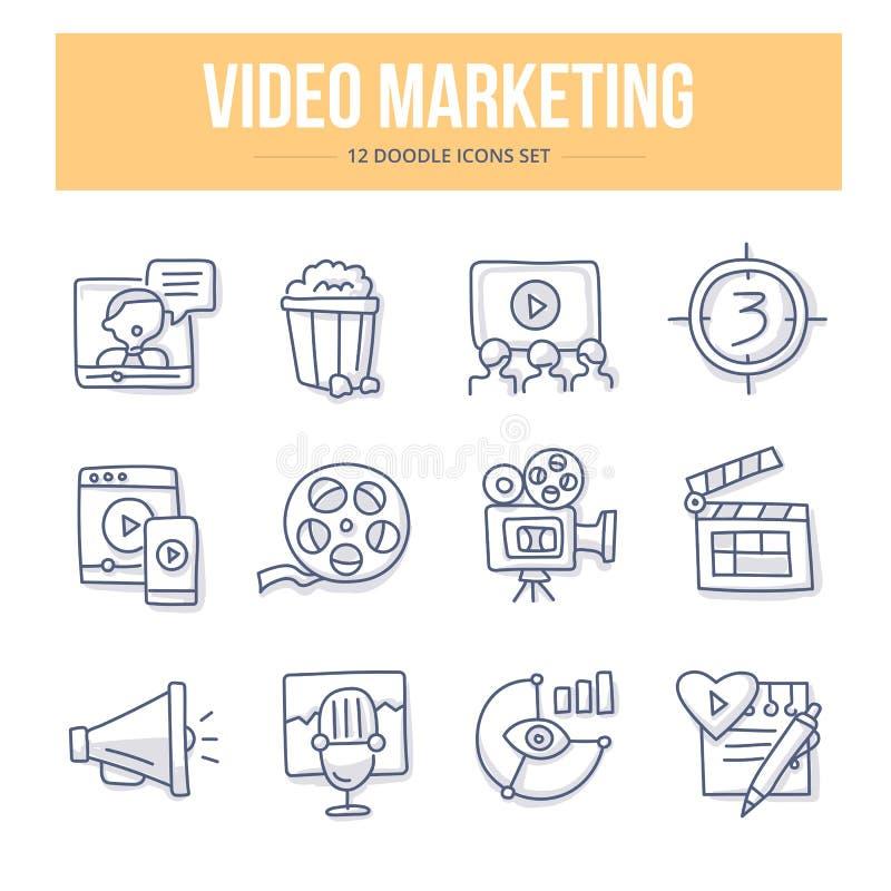 Videopp marknadsföringsklottersymboler royaltyfri illustrationer