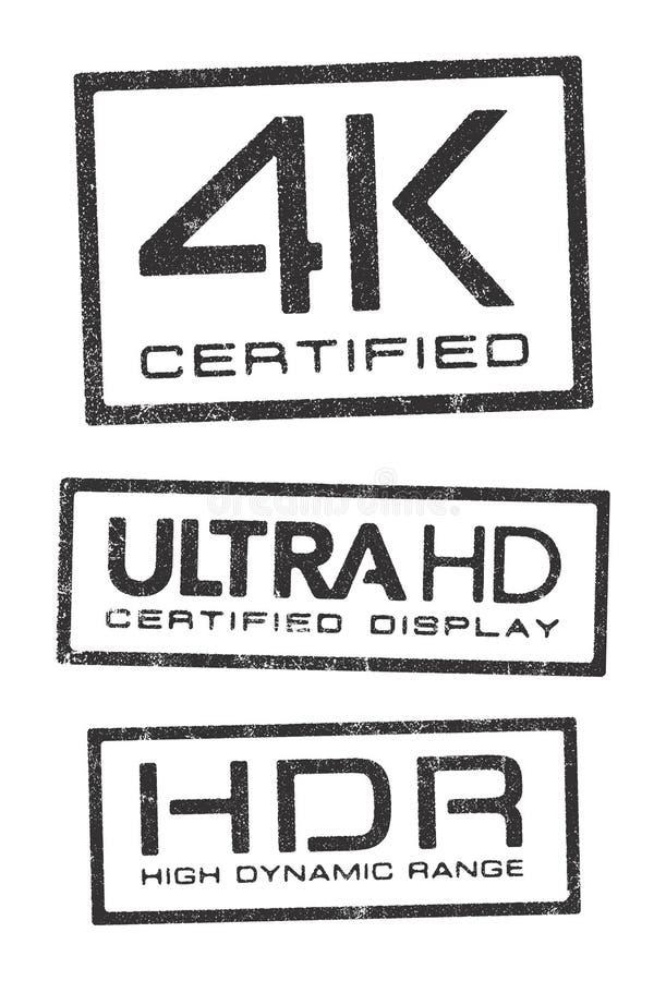 Videopp teknologiauktoriserad revisorstämplar stock illustrationer