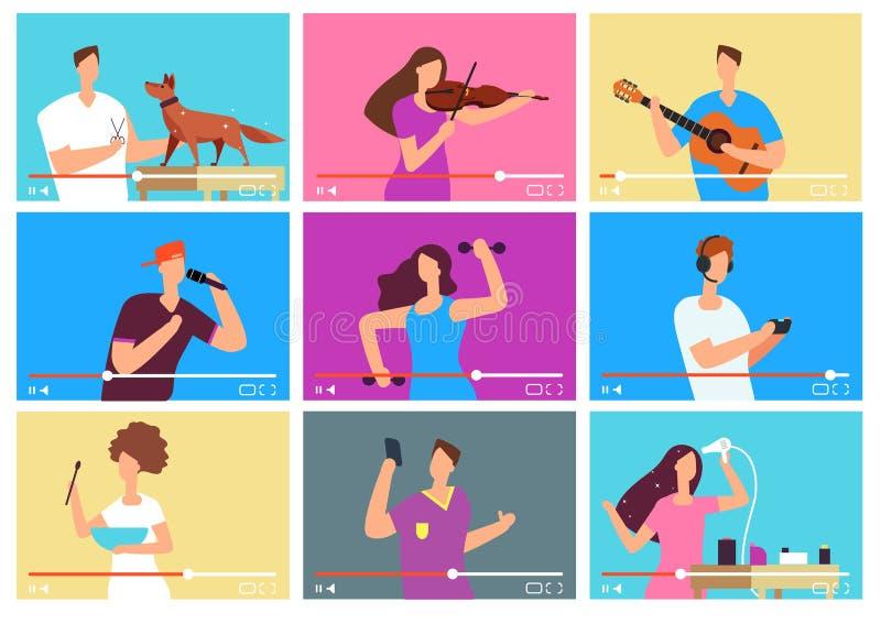 Videopp tutorials Folkbloggers på den videopd skärmen sociala marknadsföringsmedel Uppsättning för knölvektortecken royaltyfri illustrationer