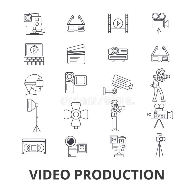 Videoproductie, camera, het uitgeven, film, bioskoop, filmspruit, de pictogrammen van de spelerlijn Editableslagen Vlakke ontwerp royalty-vrije illustratie