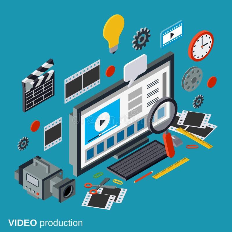Videoproductie vectorconcept stock illustratie
