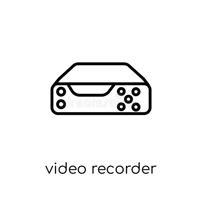 Videorecorderikone Modischer moderner flacher linearer Vektor Video-reco vektor abbildung