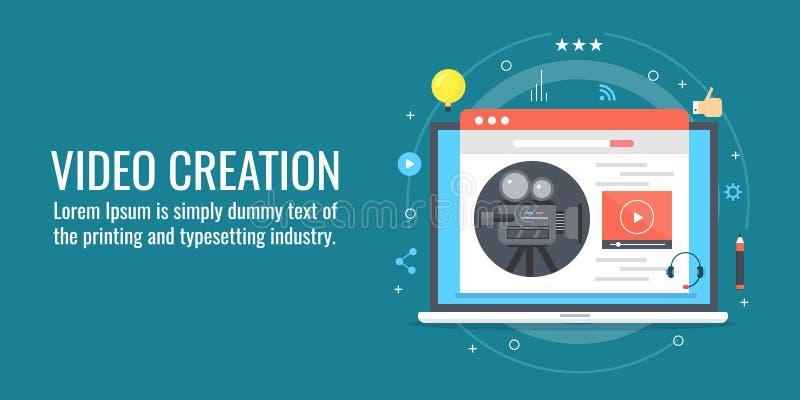 Videoschaffung, Videoproduktion für engagierendes Publikum, digitale Medien, Internet-Marketing, zufriedene Strategie Flache Desi vektor abbildung