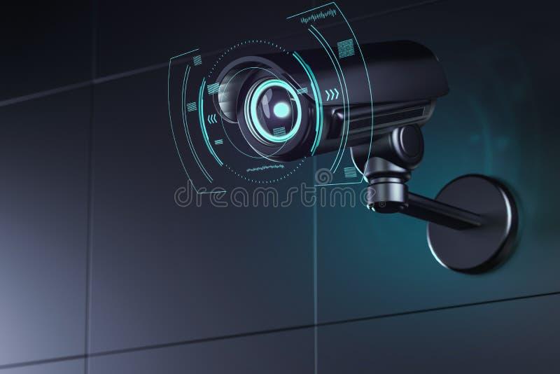 Videosorveglianza sulla parete con l'interfaccia futuristica intorno alla sua lente come analizza i dintorni rappresentazione 3d illustrazione di stock