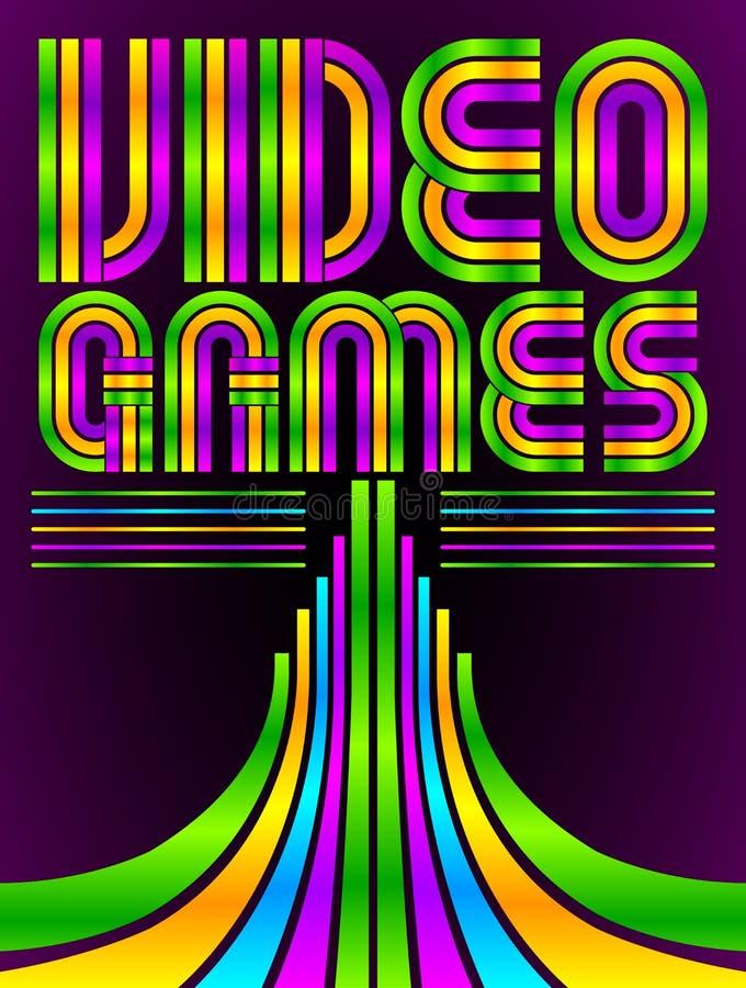 Videospel - affisch - kort - vektorbokstäver royaltyfri illustrationer