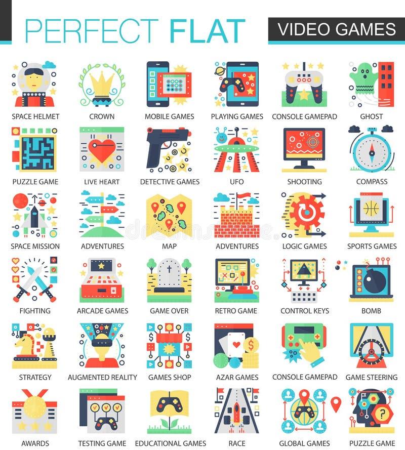 Videospel för vektorkomplex för konsol modiga symboler för begrepp för symbol för lägenhet för infographic design för rengöringsd royaltyfri illustrationer