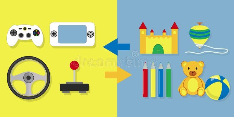 Videospel kontra andra leksaker vektor illustrationer
