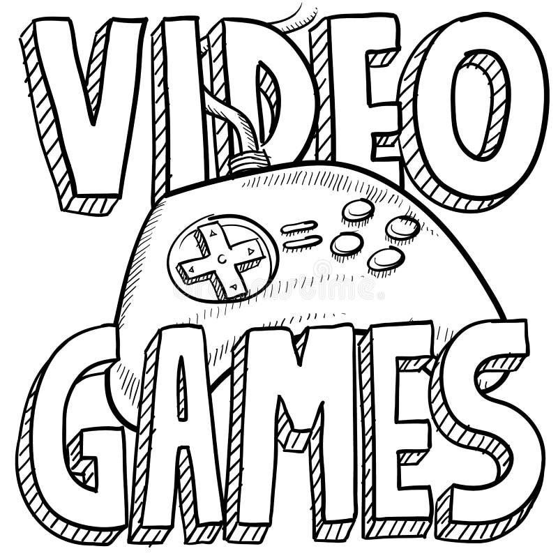 Videospel skissar royaltyfri illustrationer
