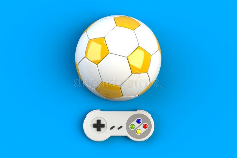 Videospelconsole GamePad Gameconcept Bovenaanzicht foto-joystick met voetbal geïsoleerd op blauwe achtergrond royalty-vrije illustratie