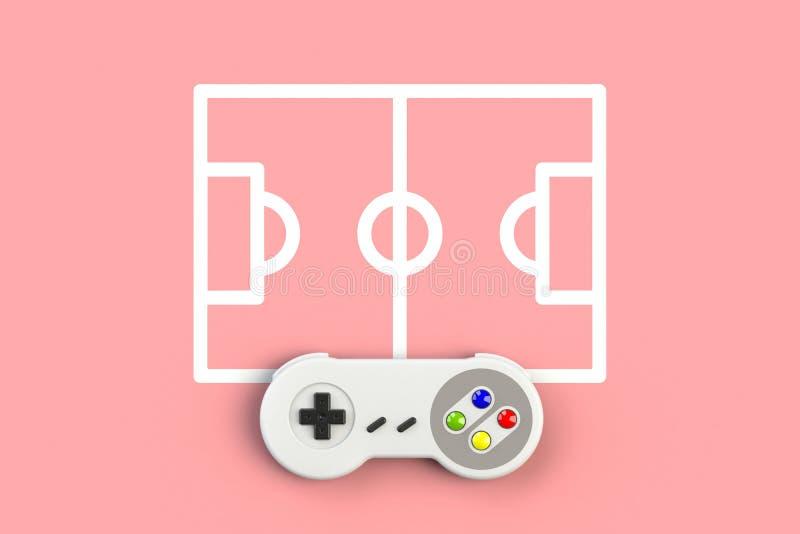 Videospelconsole GamePad Gameconcept Bovenaanzicht foto-joystick met voetbalveld geïsoleerd op roze achtergrond royalty-vrije illustratie