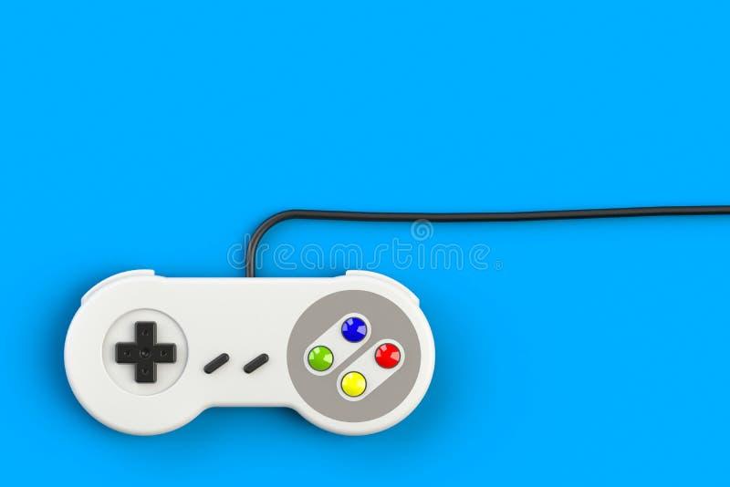 Videospelconsole GamePad Gameconcept Bovenaanzicht retro joystick geïsoleerd op blauwe achtergrond stock illustratie
