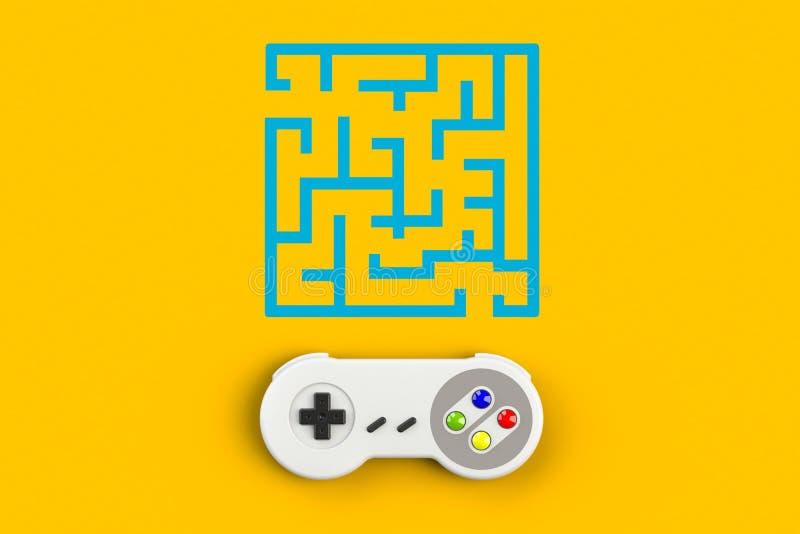 Videospelconsole GamePad Gameconcept Bovenaanzicht retro joystick met doolhof geïsoleerd op gele achtergrond stock illustratie