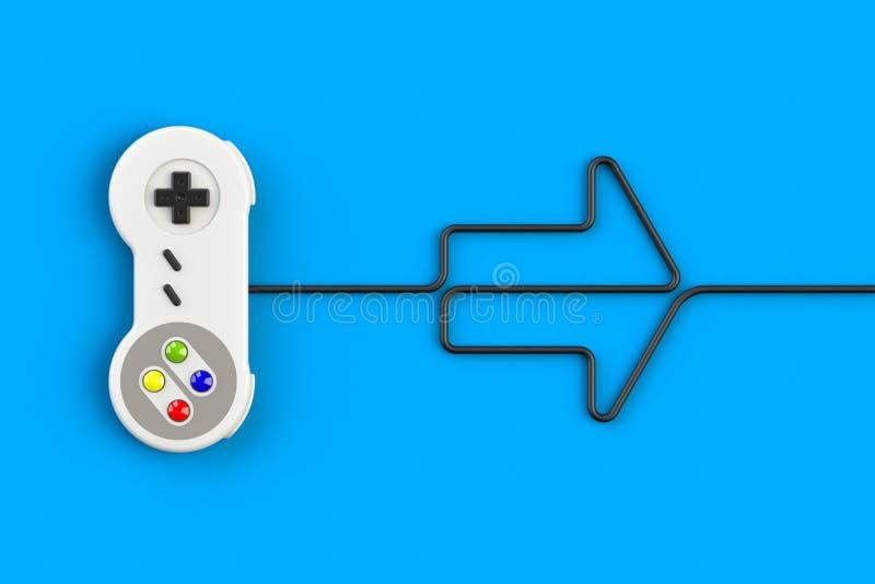 Videospelconsole GamePad Gameconcept Bovenaanzicht retro joystick met pijlsymbool geïsoleerd op blauwe achtergrond vector illustratie