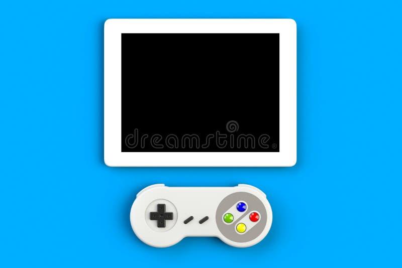 Videospelconsole GamePad Gameconcept Bovenaanzicht retro joystick met tablet geïsoleerd op blauwe achtergrond royalty-vrije illustratie