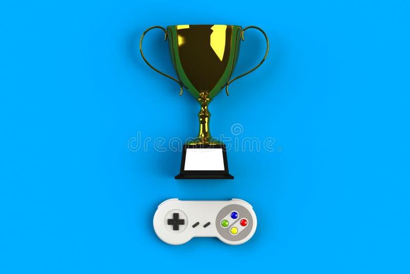 Videospelconsole GamePad Gameconcept Bovenaanzicht retro joystick met trofee geïsoleerd op blauwe achtergrond royalty-vrije illustratie