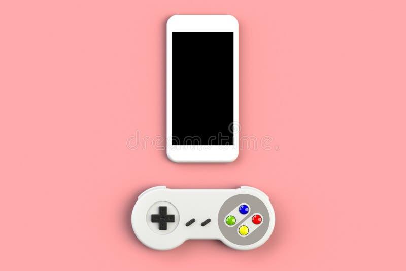 Videospelconsole GamePad Gameconcept Top view retro joystick met smartphone geïsoleerd op roze achtergrond royalty-vrije illustratie