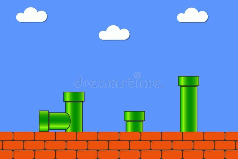 Videospelletje in oude stijl Retro vertoningsachtergrond voor spel met bakstenen en pijp of buis Vector stock afbeeldingen