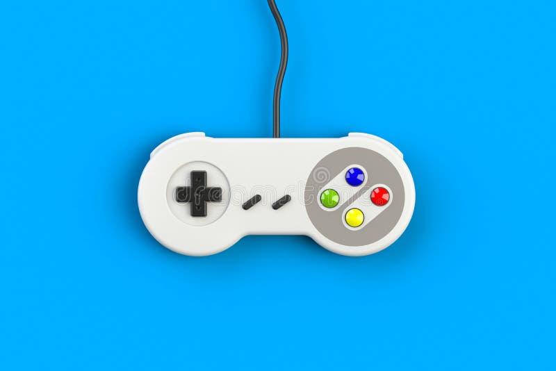 Videospelletjeconsole GamePad Gokkenconcept Hoogste menings retro bedieningshendel die op blauwe achtergrond wordt geïsoleerd royalty-vrije stock afbeelding