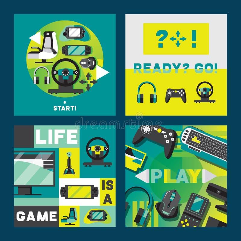 Videospelletjes en gamers aquare kaartenontwerp Toebehoren voor het spelen als controlemechanismen en bedieningshendels, hoofdtel royalty-vrije illustratie