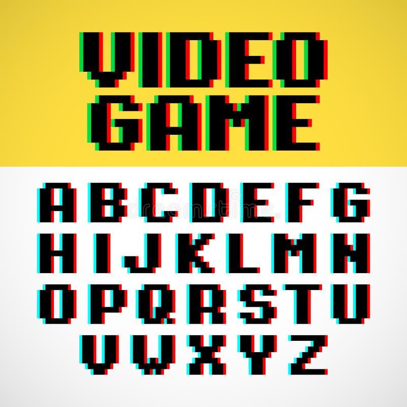 VideospelPIXELstilsort royaltyfri illustrationer