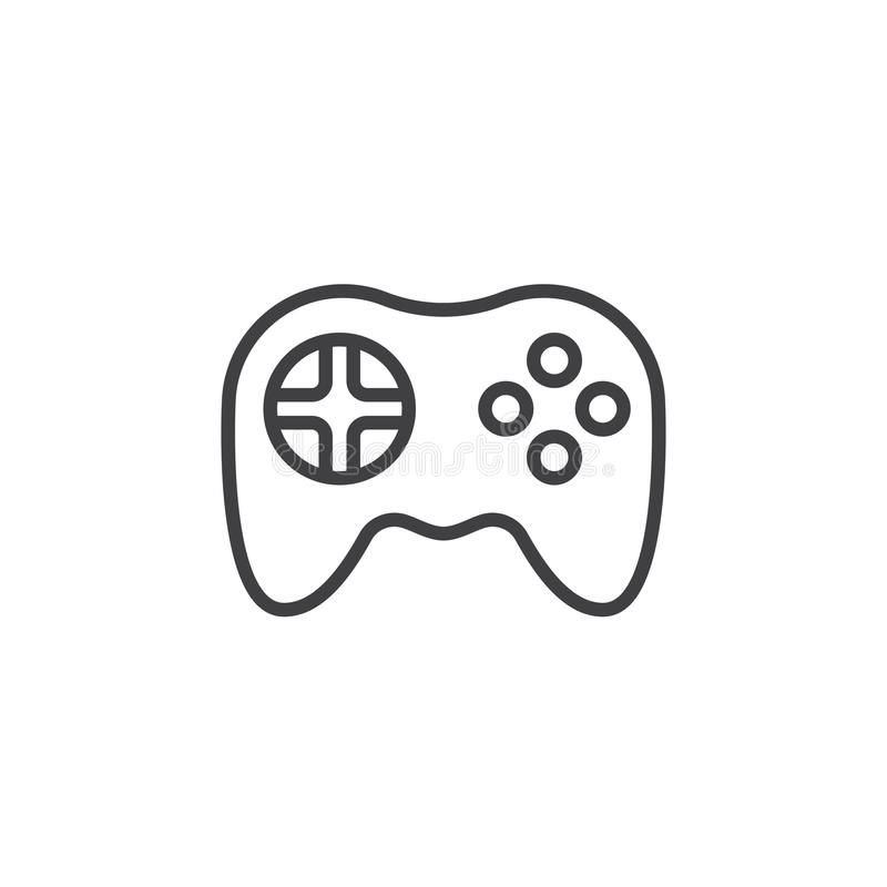 Videospelsymbol Gamepad linje symbol, stock illustrationer