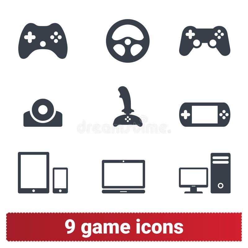 Videospelsymboler: Grej konsol, styrspak royaltyfri illustrationer