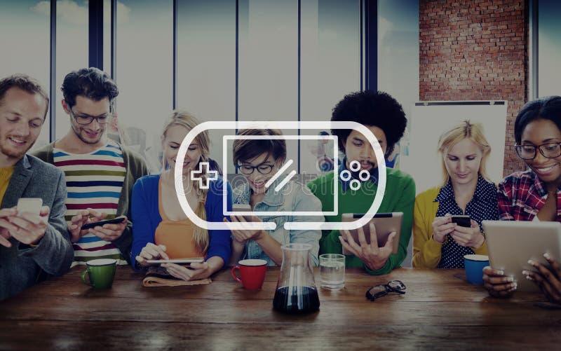 Videospiel, das Joypad-Spiel-Konzept steuert lizenzfreies stockfoto