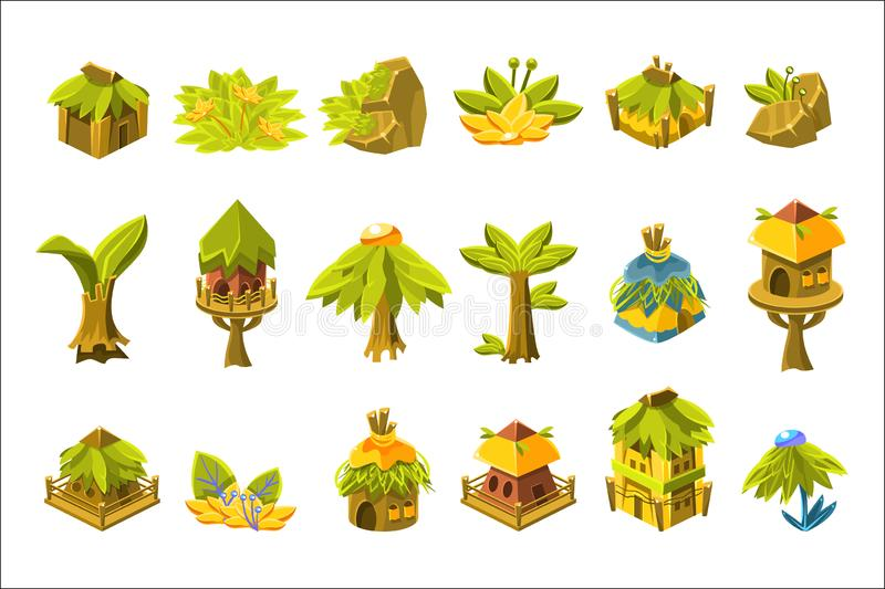 Videospiel tropischer Forest Design Collection Of Elements stock abbildung