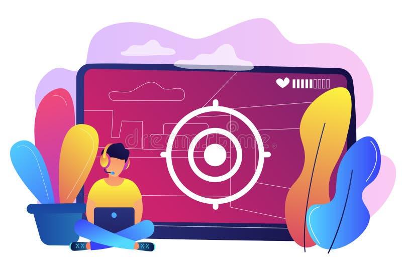 Videospieldurchlaufkonzept-Vektorillustration stock abbildung