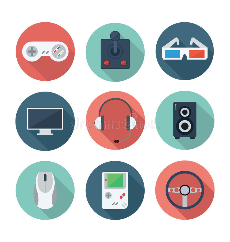 Videospiele und Unterhaltungs-flacher Ikonen-Satz lizenzfreie stockfotos