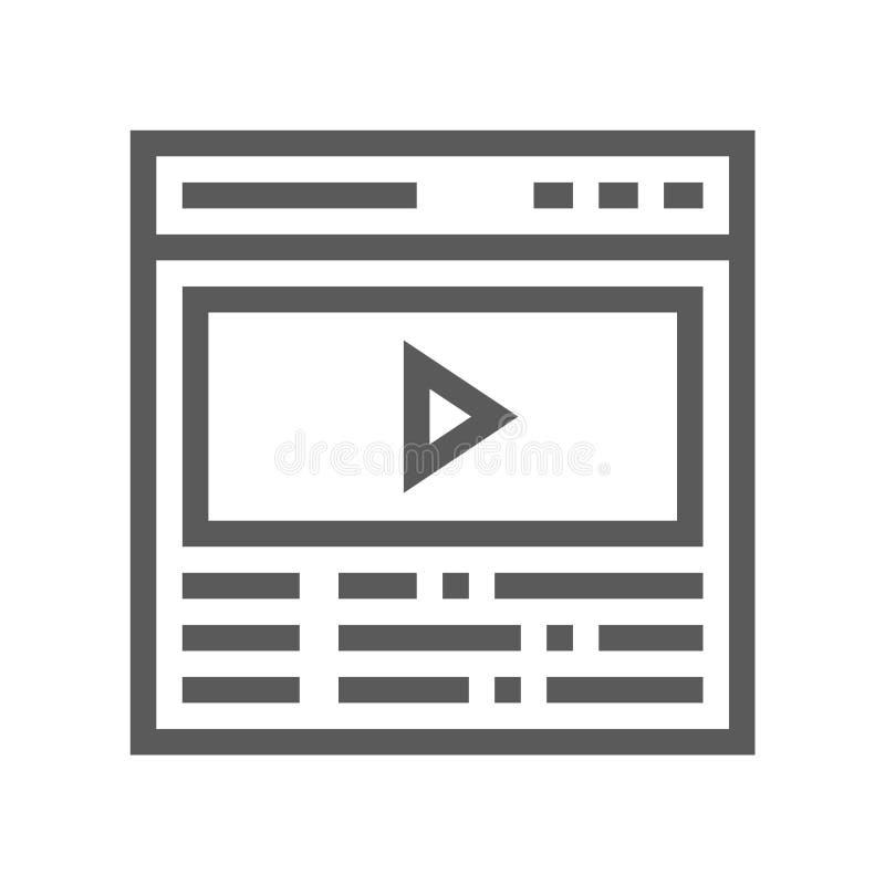 Videostudioproductie, het Videopictogram van de Inhouds Vectorlijn Filmproductie, Filmmontering, Scenario 48x48 Perfect pixel royalty-vrije illustratie