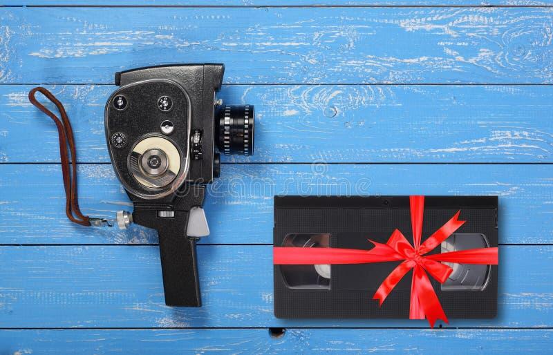 Videotape portátil VHS da câmera do filme de filme do vintage fotos de stock