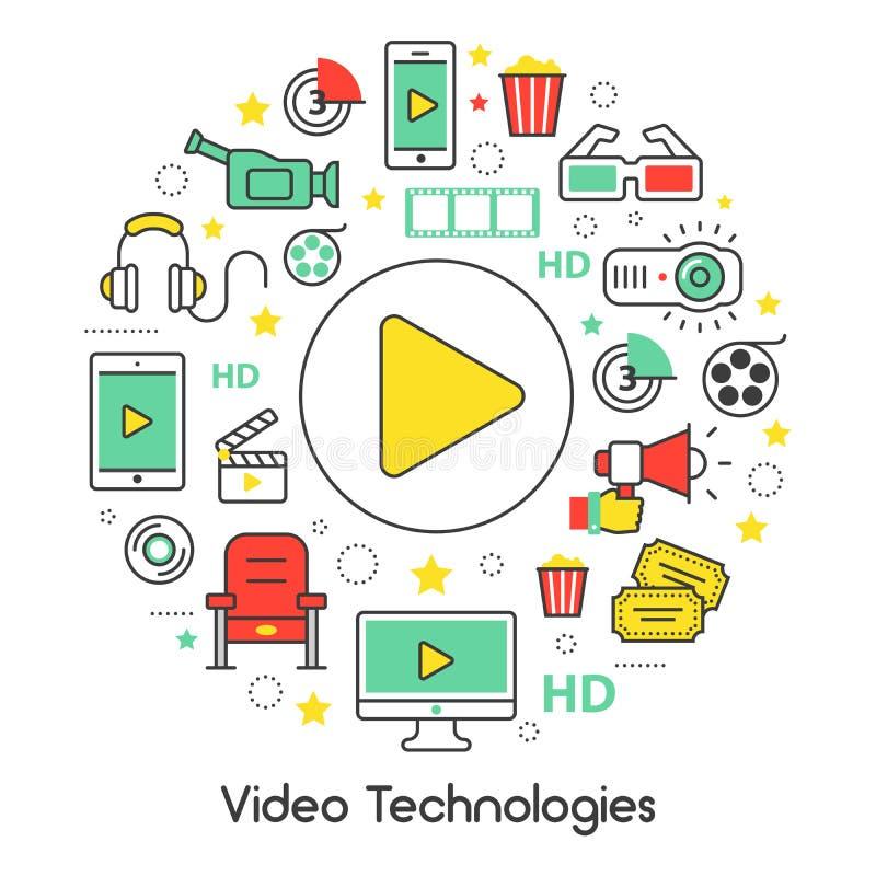 Videotechnologie-Linie Art Thin Icons Set mit Kino-Elementen stock abbildung