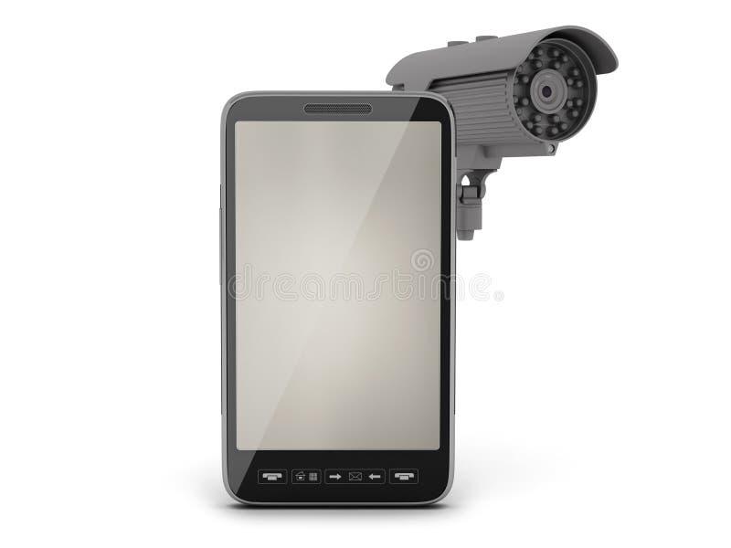 Videotoezichtcamera en celtelefoon royalty-vrije illustratie