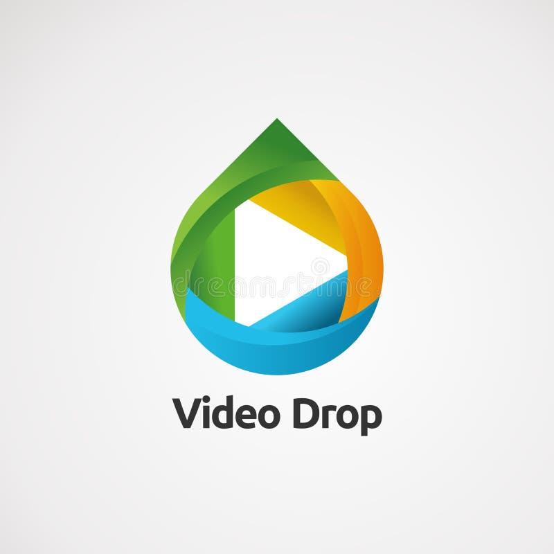 Videotropfenlogovektor mit Spaßkonzept, -ikone, -element und -schablone für Firma stock abbildung