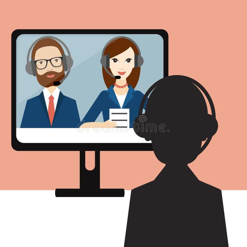 Videovorstellungsgespräch Offizier und Kandidat lizenzfreie abbildung