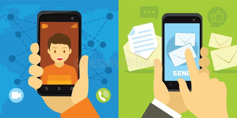 Videovraag en bericht van smartphone royalty-vrije stock afbeeldingen