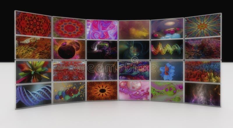 Videowall en foto's stock illustratie