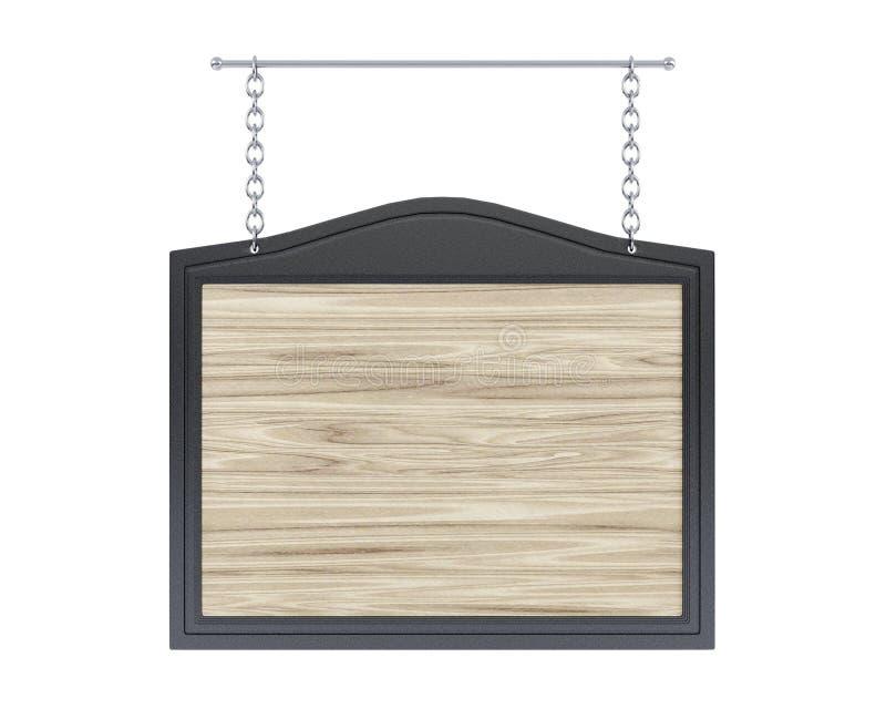Videz l'enseigne en bois avec le cadre en métal sur le fond blanc photo stock