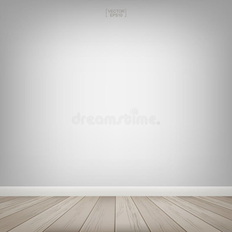 Videz l'espace en bois de pièce avec le fond blanc de mur Illustration de vecteur image libre de droits