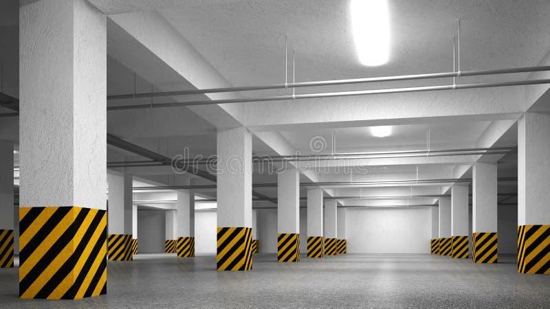 Videz l'intérieur souterrain d'abrégé sur stationnement illustration stock