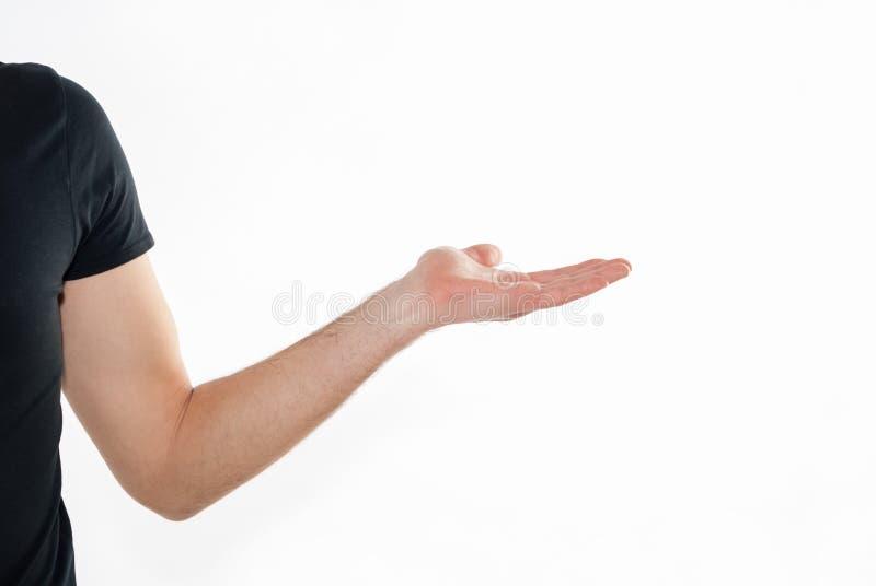 Videz la main masculine ouverte sur le fond blanc photo stock