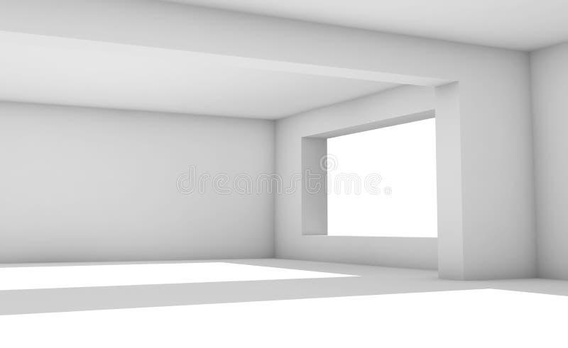 Videz la pièce blanche avec les fenêtres larges, l'intérieur 3d illustration de vecteur